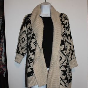 LONG TAN AND BLACK THICK CARDIGAN FOREVER 21
